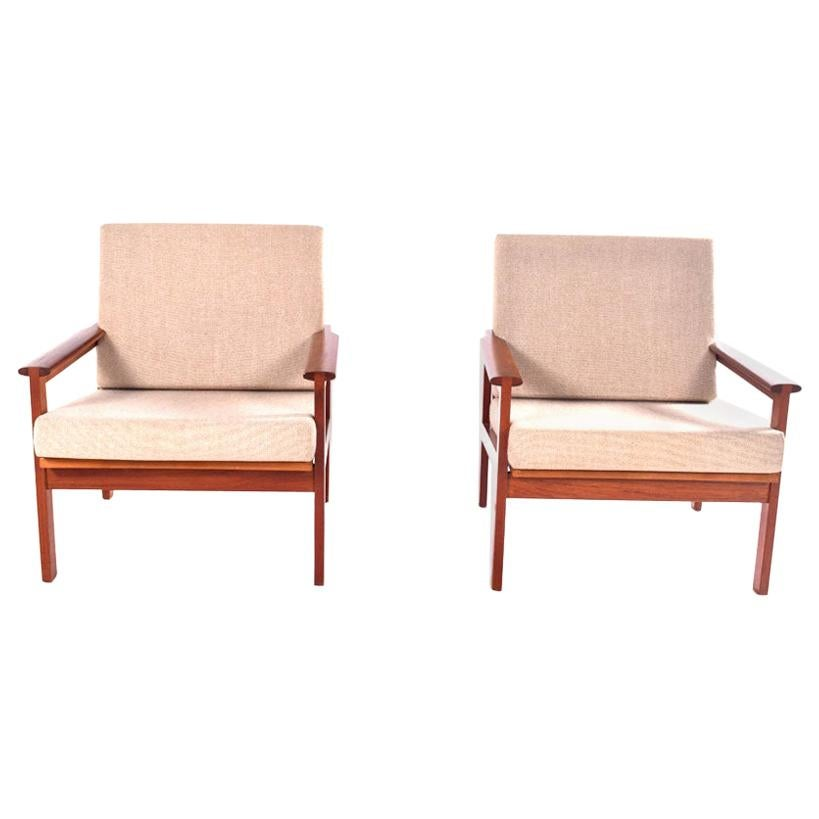 Midcentury Pair of Illum Wikkelso Teak Easy Chairs, 1960s