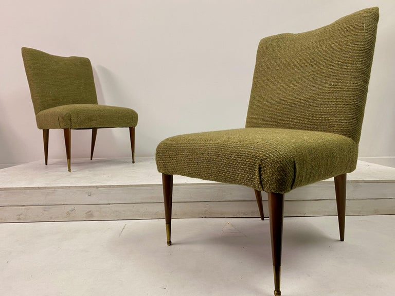 Midcentury Pair of Italian 1950s Slipper Chairs in Green Wool Linen Blend 6