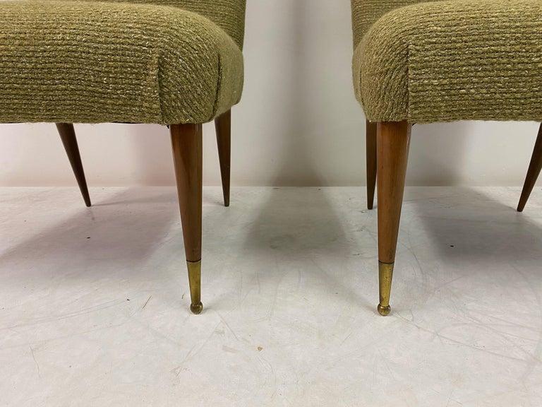 Mid-Century Modern Midcentury Pair of Italian 1950s Slipper Chairs in Green Wool Linen Blend