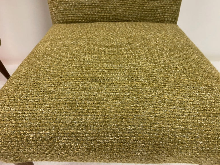 20th Century Midcentury Pair of Italian 1950s Slipper Chairs in Green Wool Linen Blend