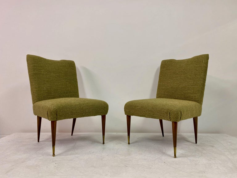 Midcentury Pair of Italian 1950s Slipper Chairs in Green Wool Linen Blend 1