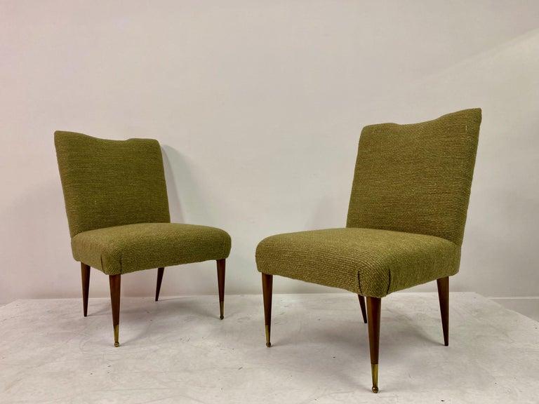 Midcentury Pair of Italian 1950s Slipper Chairs in Green Wool Linen Blend 2