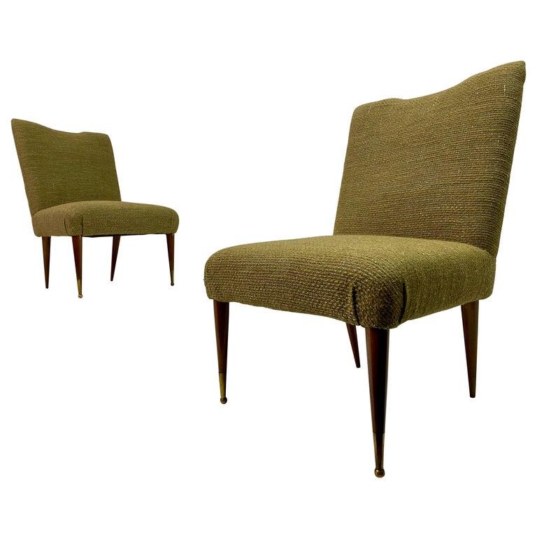 Midcentury Pair of Italian 1950s Slipper Chairs in Green Wool Linen Blend
