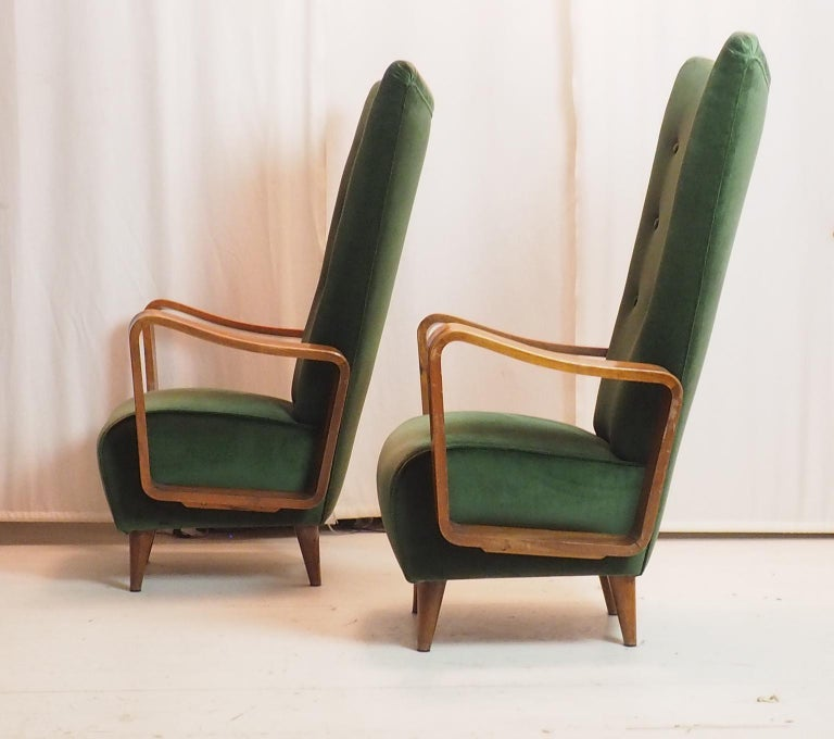 Mid-20th Century Midcentury Pair of Italian Green Velvet Armchairs by Pietro Lingeri, Italy, 1950 For Sale