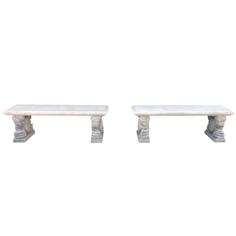 Midcentury Pair of Italian Limestone Benches