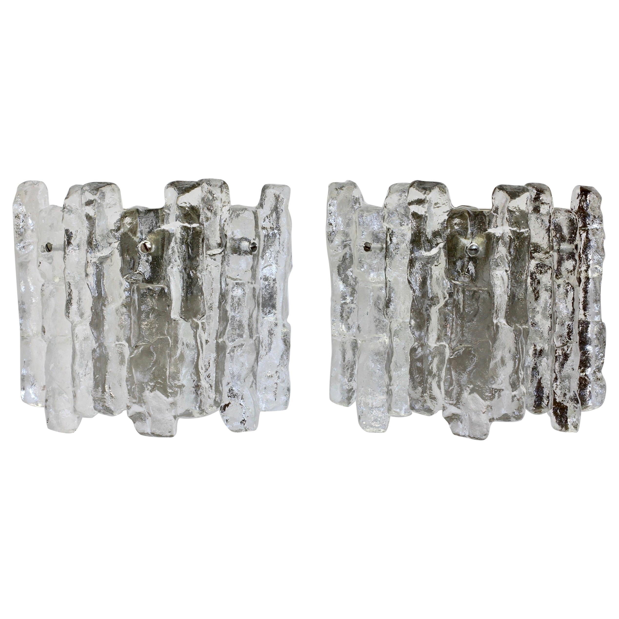 Mid-Century Pair of Kalmar 1960s Clear Glass Ice Crystal Wall Lights or Sconces
