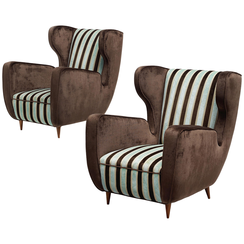Midcentury Pair of Large 1950s Italian Armchairs in Velvet