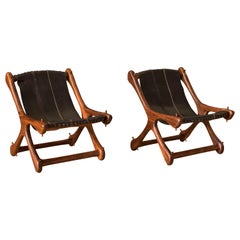 Mid Century Pair of Leather Cocobolo Rosewood Sling Chairs by Don Shoemaker