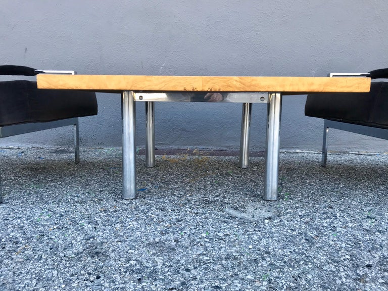 Mid-Century Modern Midcentury Pair of Lounge Chairs and Cocktail Table For Sale