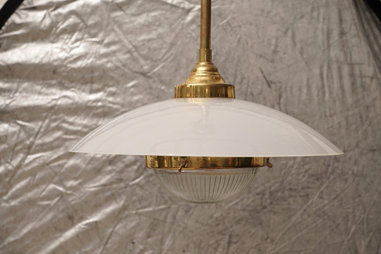 Mid-Century Modern Midcentury Pair of Lucite, Brass and Glass Pendant Lights For Sale