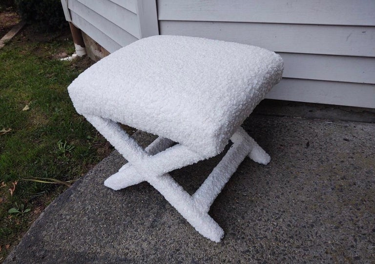 Midcentury Pair of Matching Newly Upholstered in Bouclé Fabric X Benches Stools In Good Condition For Sale In West Hartford, CT