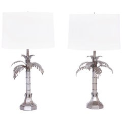 Mid Century Pair of Metal Palm Tree Table Lamps