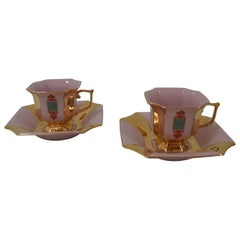Mid-Century Pair of Mugs with Saucers by Haas & Czjzek, circa 1960's