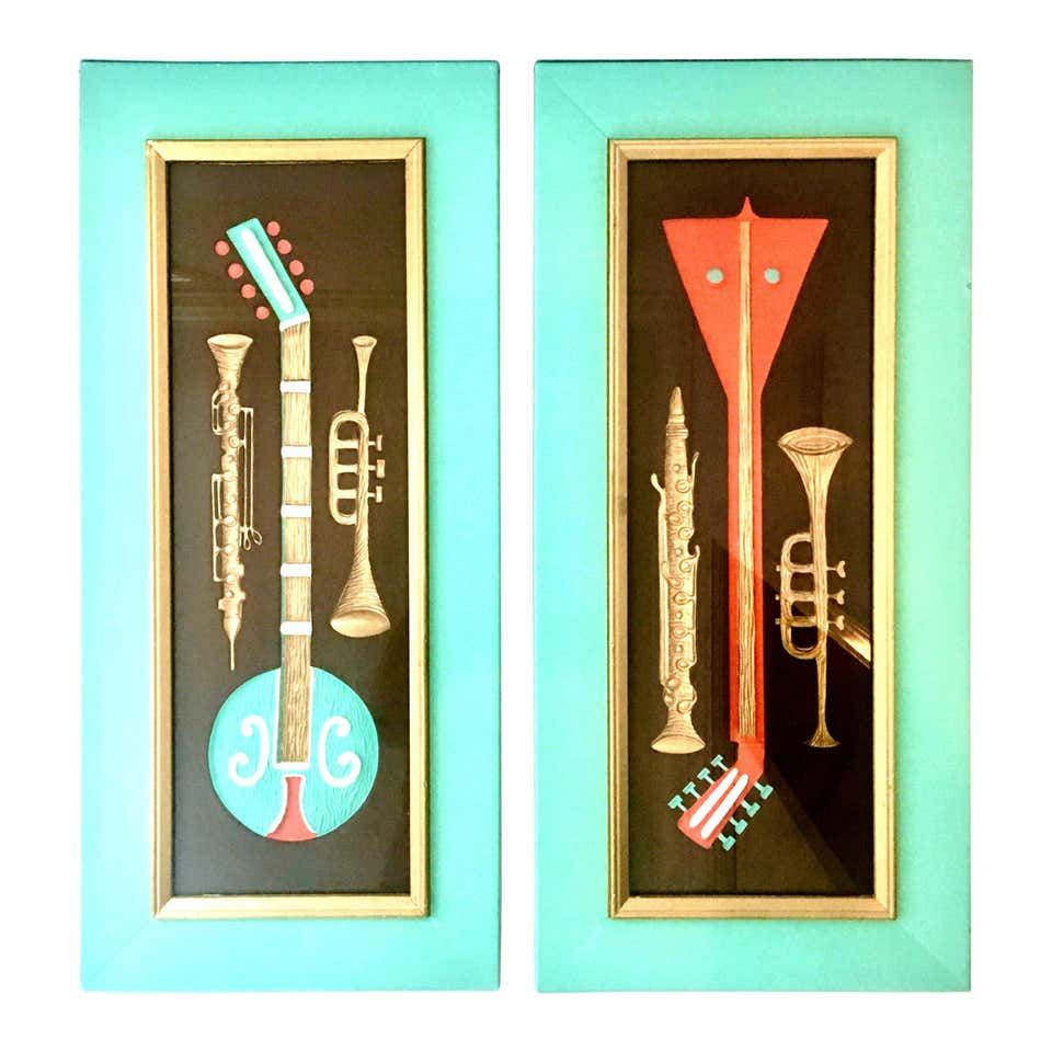 Mid century modern painting musical instruments