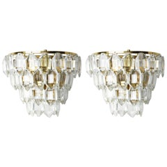 Midcentury Pair of Palwa Sconces Crystals on a Gilt Rose Gold Frame, Vienna