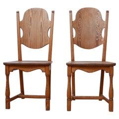 Mid-Century Pair of Pine Swedish Occasional Chairs