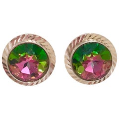 """Mid-Century Pair Of Silver & Crystal """"Watermelon"""" Cuff Links By, Dante"""