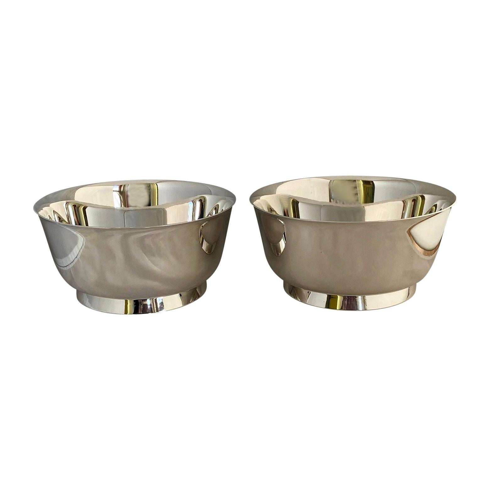 Mid Century Pair of Silver Plated Gio Ponti Bowls for Arthur Krupp, with 1 Ladle