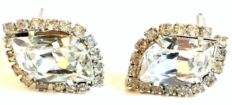 Mid-Century Pair Of Silver & Swarovski Crystal Earrings By, Weiss In Good Condition For Sale In West Palm Beach, FL
