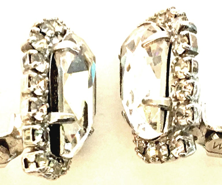 Mid-Century Pair Of Silver & Swarovski Crystal Earrings By, Weiss For Sale 1