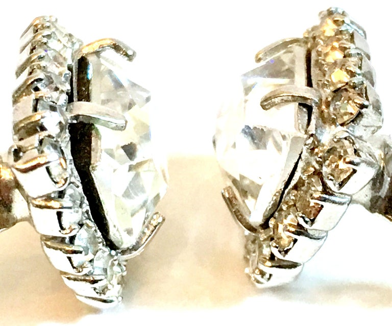 Mid-Century Pair Of Silver & Swarovski Crystal Earrings By, Weiss For Sale 2