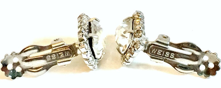 Mid-Century Pair Of Silver & Swarovski Crystal Earrings By, Weiss For Sale 4