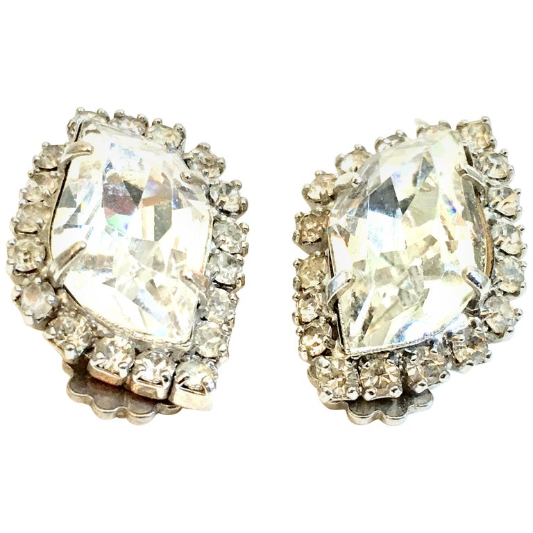 Mid-Century Pair Of Silver & Swarovski Crystal Earrings By, Weiss For Sale