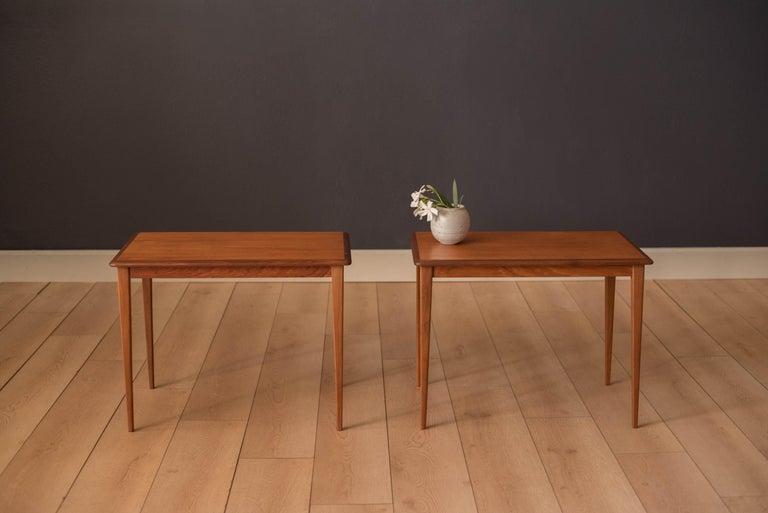 Scandinavian Modern Mid Century Pair of Teak End Tables For Sale