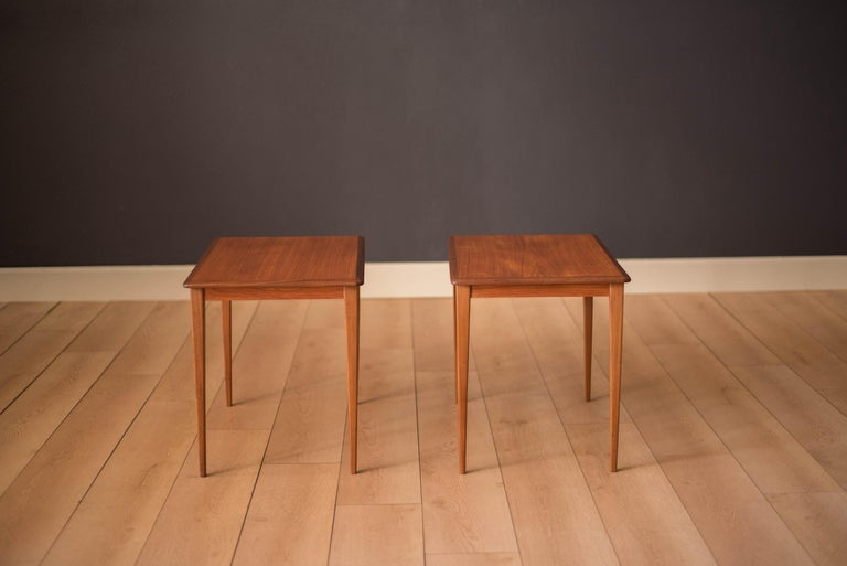 Swedish Mid Century Pair of Teak End Tables For Sale