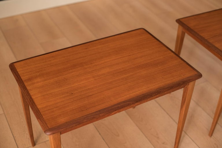 Mid Century Pair of Teak End Tables For Sale 1