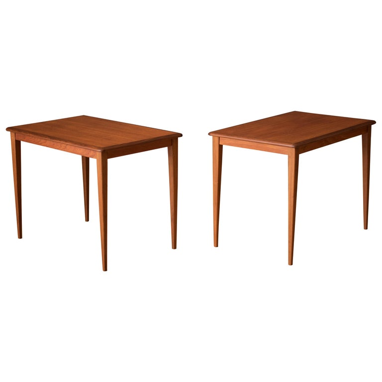 Mid Century Pair of Teak End Tables For Sale