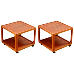 Midcentury Pair of Teak Rolling Side Tables by BR Møbler Gelsted, Denmark