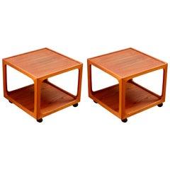 Midcentury Pair of Teak Rolling Side Tables by BR Møbler Gelsted, Denmark