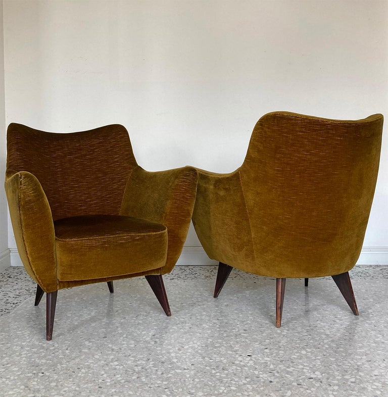 """Pair of 'Perla' bronze colour velvet armchairs designed by Giulia Veronesi in 1950s for ISA manufacturer. Its sensual curves and the elegantly tapered particular wood legs together with prounonced hips characterize this model of Armchairs named """""""