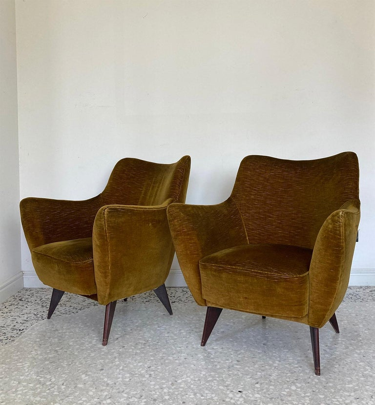 Mid Century Pair of Velvet 'PERLA' Armchairs by G. Veronesi for ISA, Italy 1950s In Good Condition For Sale In Milano, IT