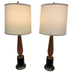 Midcentury Pair of Vintage Cranberry Glass Murano Lamps
