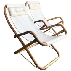 Midcentury Pair of White Campaign Chairs in Brass and Bamboo, Italy, 1960s