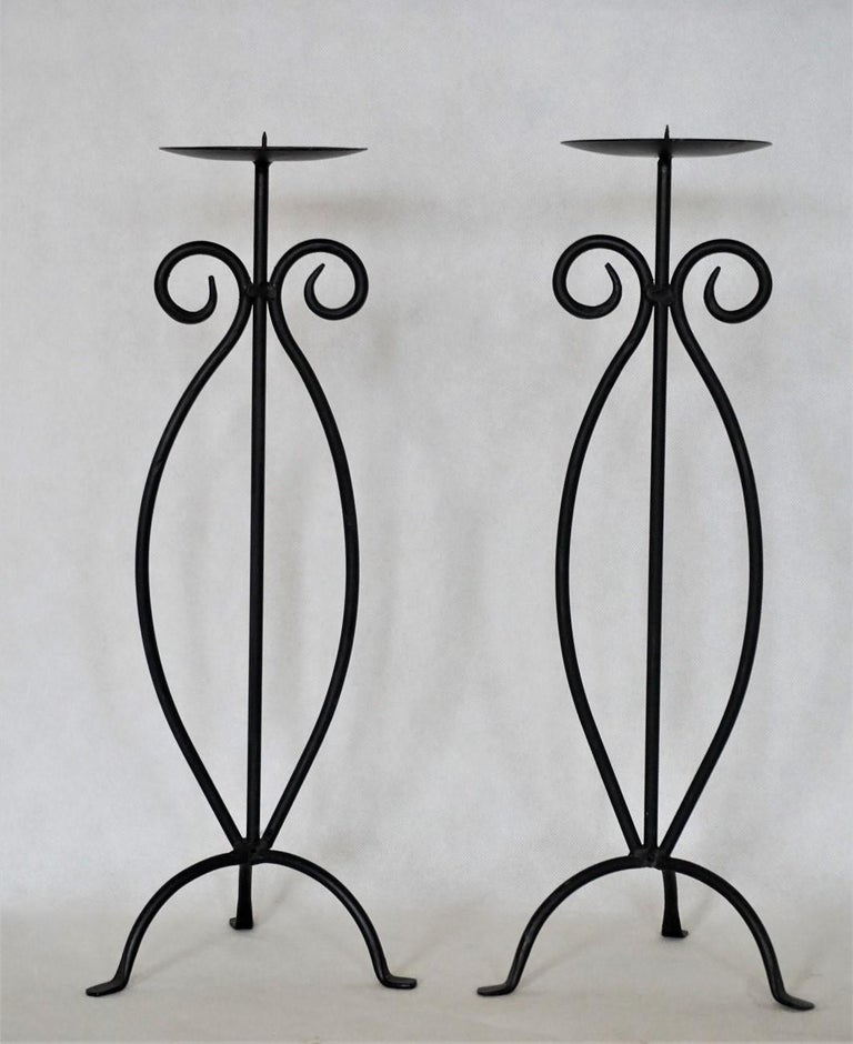 Folk Art Midcentury Pair of Wrought Iron Tripod Candleholders For Sale
