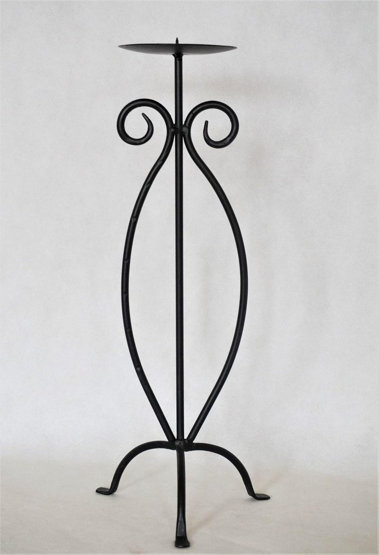 German Midcentury Pair of Wrought Iron Tripod Candleholders For Sale