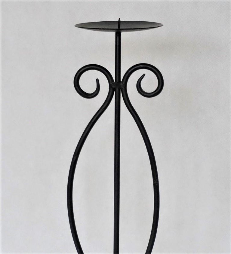 20th Century Midcentury Pair of Wrought Iron Tripod Candleholders For Sale