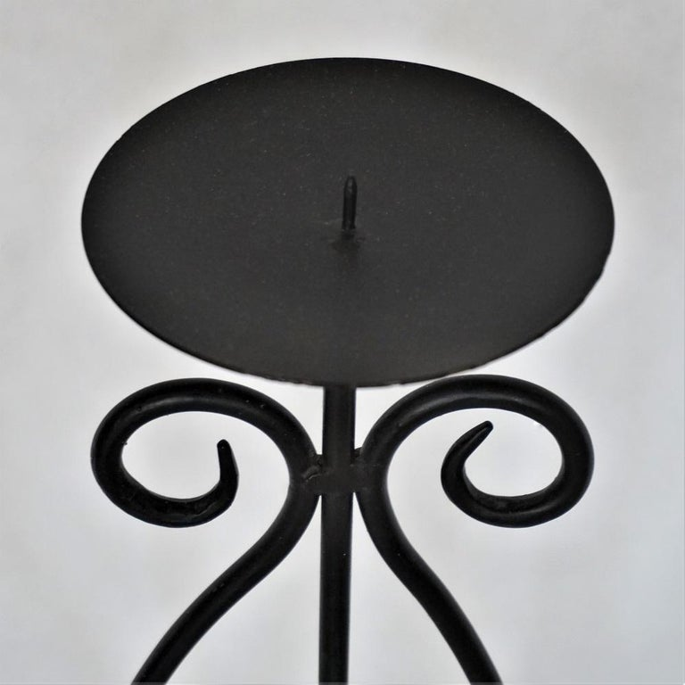 Midcentury Pair of Wrought Iron Tripod Candleholders For Sale 1