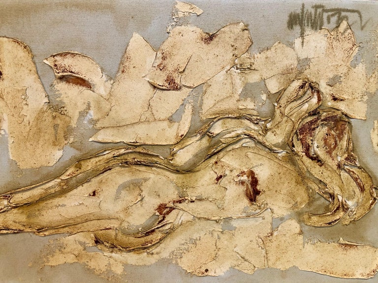 Mid-Century Modern Midcentury Palette Knife Nude Abstract Nude Painting Signed