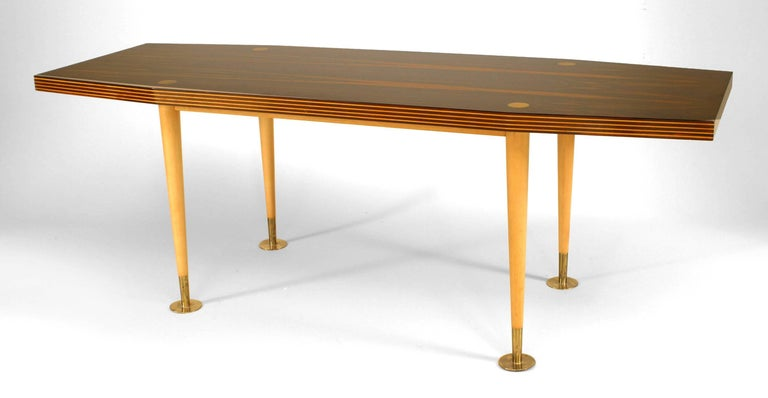 Mid-century Italian coffee table with a palisander top with fluted, maple-trimmed edges over conical sycamore legs and circular brass pad feet.