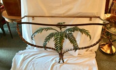 Mid Century  Palm Tree Motif Console Table
