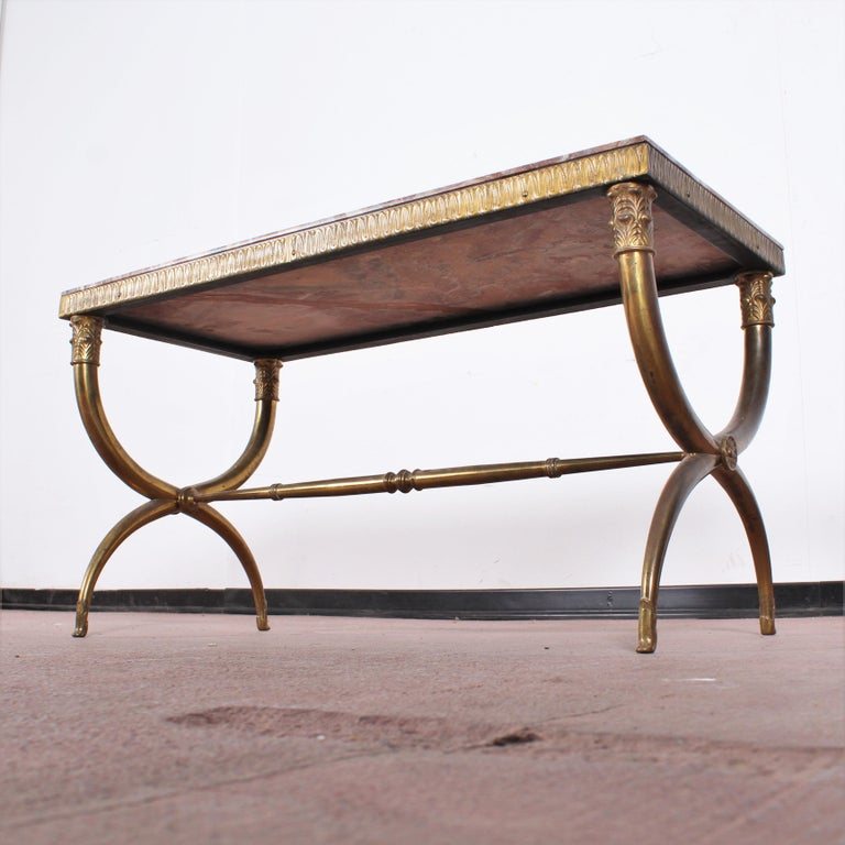 Midcentury Paolo Buffa Marble and Brass Coffee Table, 1950s, Italy For Sale 4