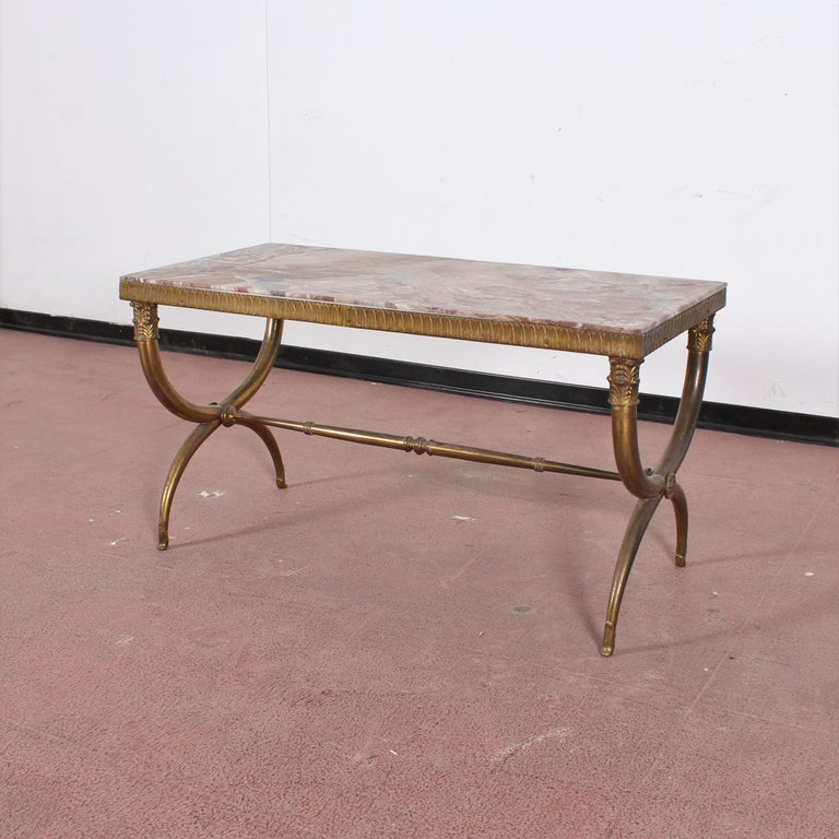 Midcentury Paolo Buffa Marble and Brass Coffee Table, 1950s, Italy For Sale 5