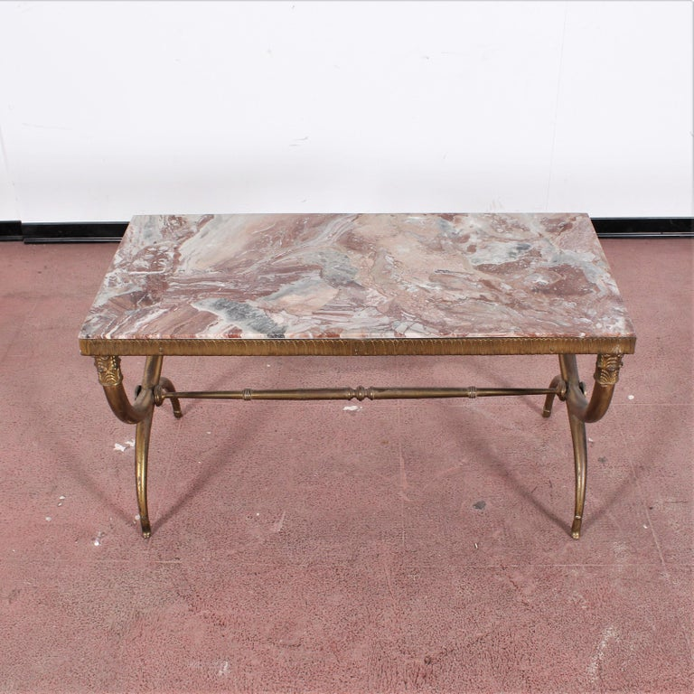 Midcentury Paolo Buffa Marble and Brass Coffee Table, 1950s, Italy For Sale 6