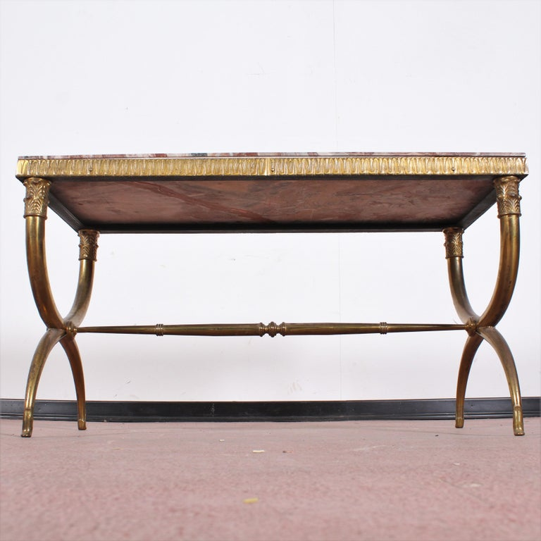 Midcentury Paolo Buffa Marble and Brass Coffee Table, 1950s, Italy For Sale 7