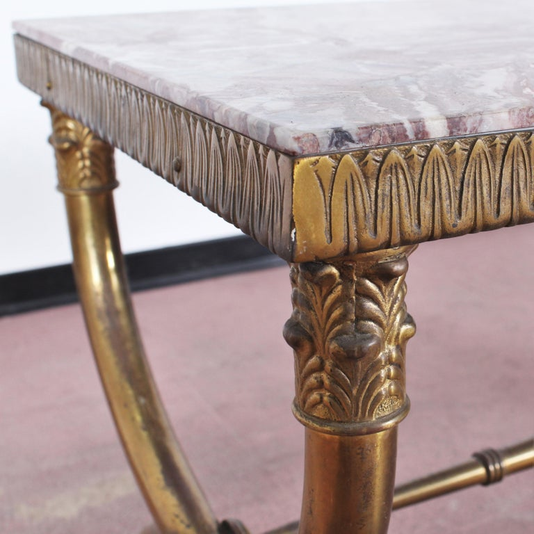 Midcentury Paolo Buffa Marble and Brass Coffee Table, 1950s, Italy For Sale 8
