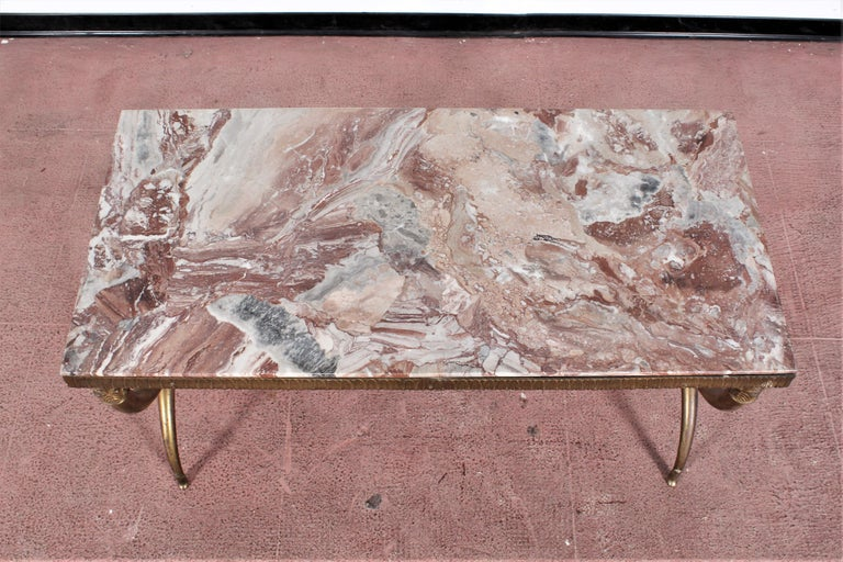 Midcentury Paolo Buffa Marble and Brass Coffee Table, 1950s, Italy For Sale 12